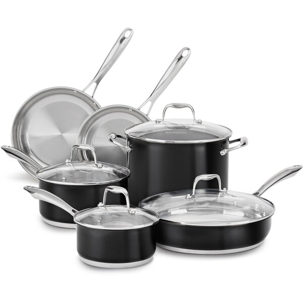 10-Piece Stainless Steel Cookware Set by KitchenAid