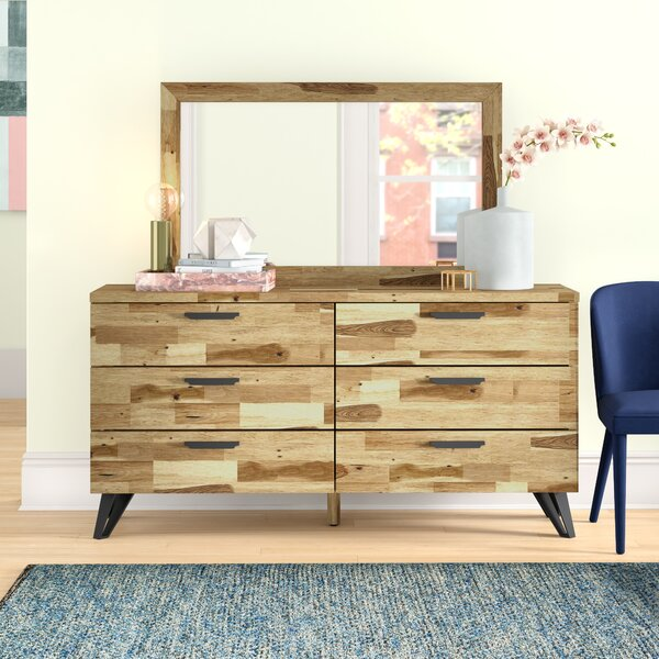 Adelle Light Wood 6 Drawer Double Dresser with Mirror by Foundstone