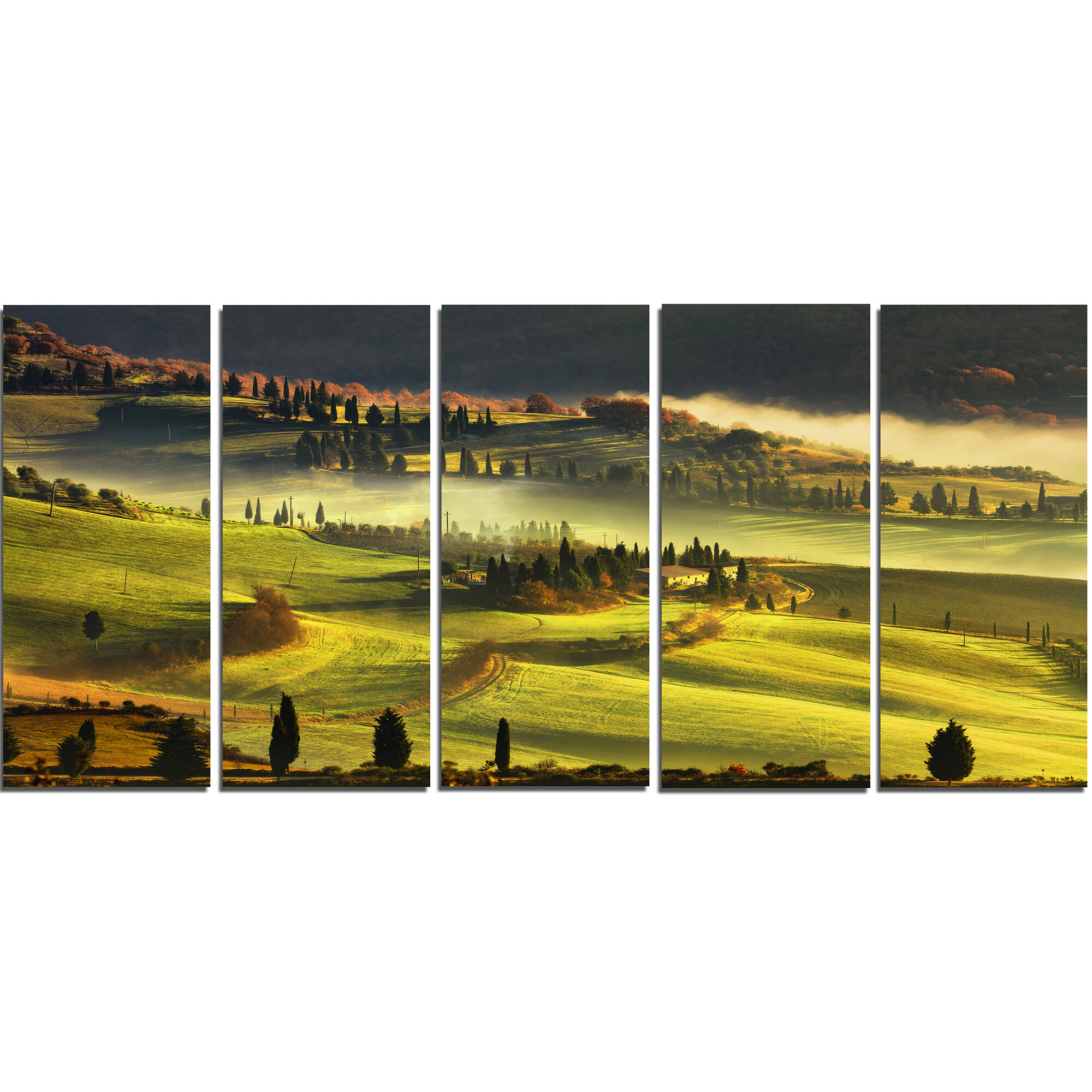 DesignArt Tuscany Farmland and Cypress Trees 5 Piece Wall Art on ...
