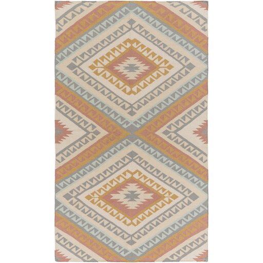 Evelyn Hand-Woven Light Gray Mocha/Rust Area Rug by Millwood Pines