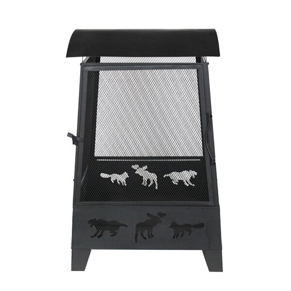Laser Cut Animal Design Outdoor Steel Charcoal Fire Pit by ALEKO