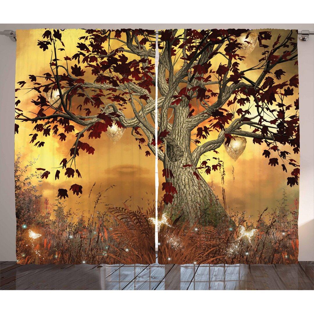 Baum Tree Pinch Pleat Semi Sheer Thermal Curtains