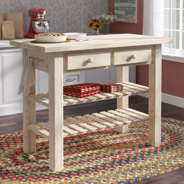 Kailee Kitchen Island with Butcher Block Top by Mistana