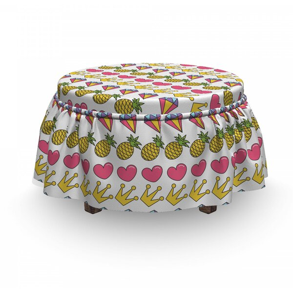 Heart Crown Gemstone Ottoman Slipcover (Set Of 2) By East Urban Home