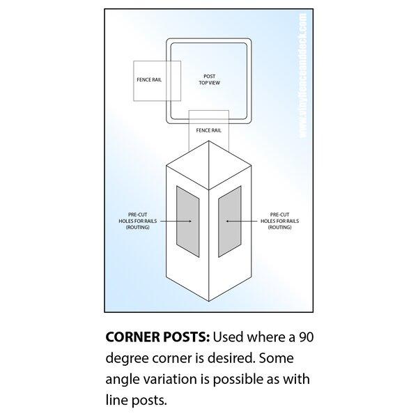 Corner Post for Heavy Duty Rainier Privacy Fence by Vinyl Fence Wholesaler