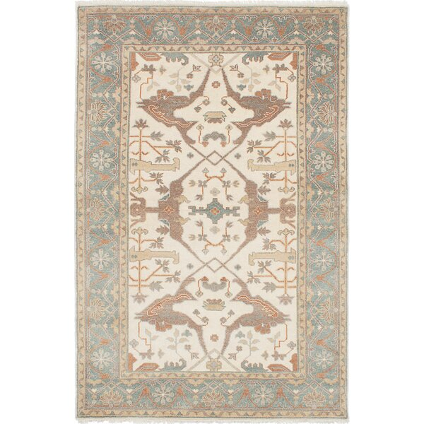 One-of-a-Kind Doggett Hand-Knotted Rectangle Cream Wool Area Rug by Isabelline