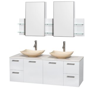 Price comparison Amare 60 Double White Bathroom Vanity Set with Medicine Cabinet ByWyndham Collection