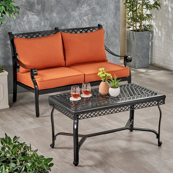 Saltz Outdoor 2 Piece Sofa Seating Group with Cushions by Fleur De Lis Living