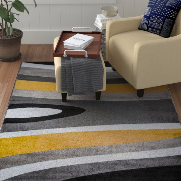 Warford Abstract Contemporary Modern Gray/Yellow Area Rug by Zipcode Design