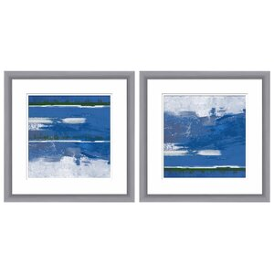 Abstract Ocean Landscape 2 Piece Framed Graphic art Set by Mercury Row