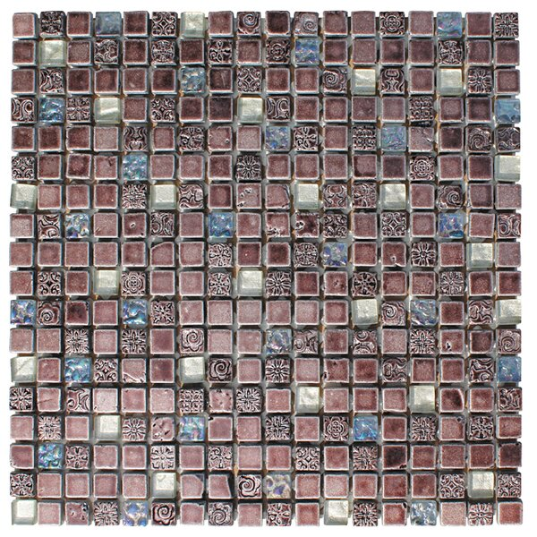 0.63 x 0.63 Glass and Natural Stone Mosaic Tile in 3 Color Blend by Intrend Tile