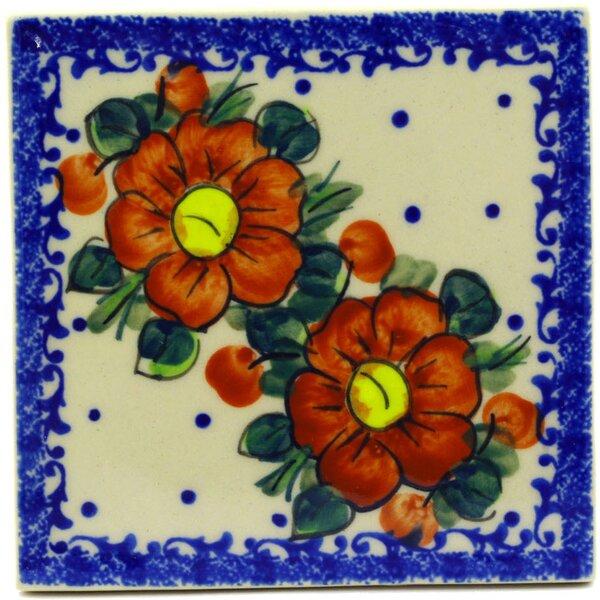Autumn Pansies 4.37 x 4.37 Ceramic Polish Pottery Decorative Accent Tile by Polmedia