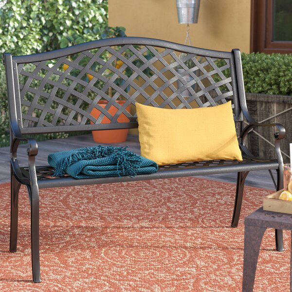 Ismenia Checkered Outdoor Cast Aluminum Patio Garden Bench by Alcott Hill