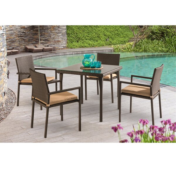 Basinger 5 Piece Dining Set with Cushions by Mercury Row