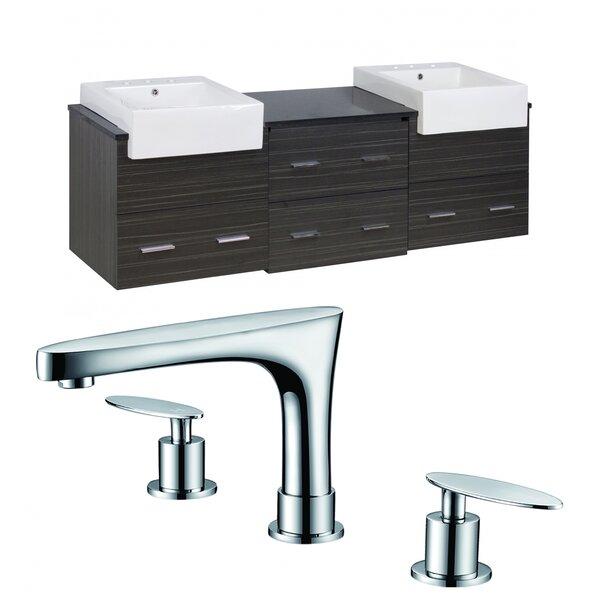 Alican 74 Wall-Mounted Double Bathroom Vanity Set