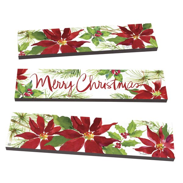 Poinsettias and Pines Plank 3 Piece Stepping Stone Set by Studio M