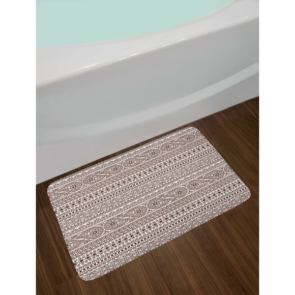 Paisley Black and White Ethnic Bath Rug by East Urban Home