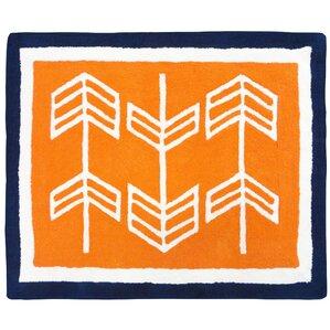 Arrow Hand Tufted Orange/Blue/White Area Rug