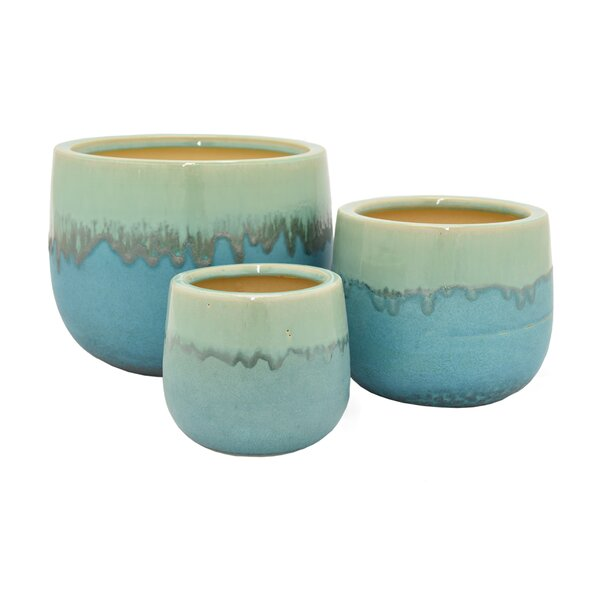 3-Piece Ceramic Pot Planter Set by Three Hands Co.