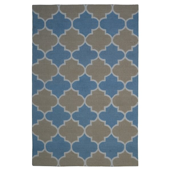 Wool Hand-Tufted Light Blue/Rust Area Rug by Eastern Weavers