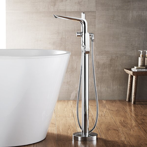 Nova Single Handle Floor Mount Freestanding Tub Filler with Hand Shower by Vinnova
