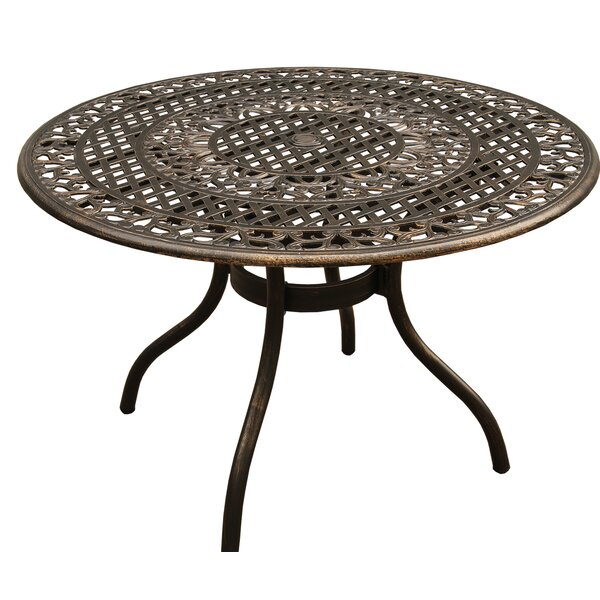 Casas Ornate Mesh Lattice Aluminum Dining Table by Fleur De Lis Living