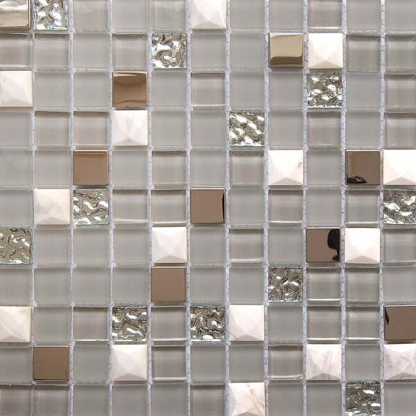 Mini Teseo Nana 1 x 1 Glass/Stone Mosaic Tile in White/Gray by Matrix Stone USA