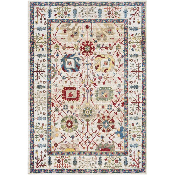 Arbouet Floral Cream/Red Area Rug by Charlton Home