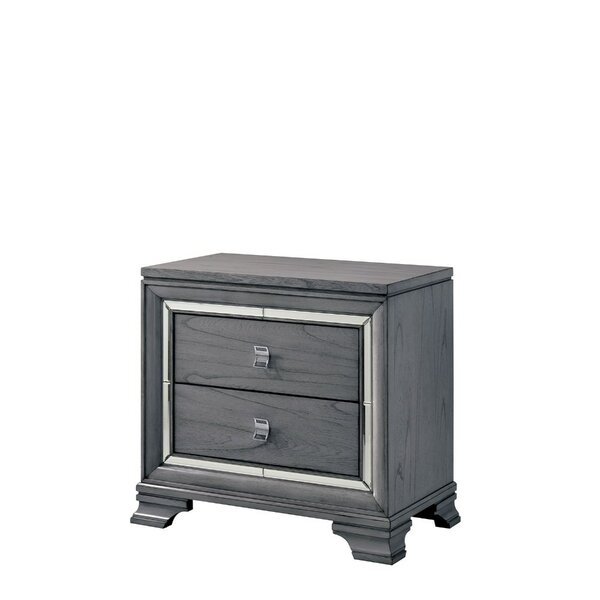 Montevia Solid Wood 2 Drawer Nightstand by Rosdorf Park