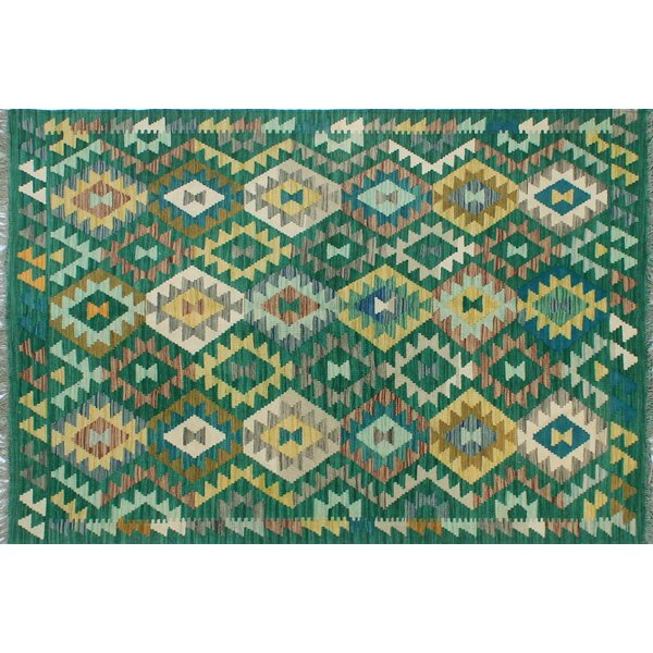 Corda Hand-Knotted Wool Green Area Rug by Bungalow Rose