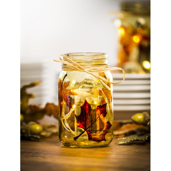Glass Harvest Leaves Mason Jar by Charlton Home