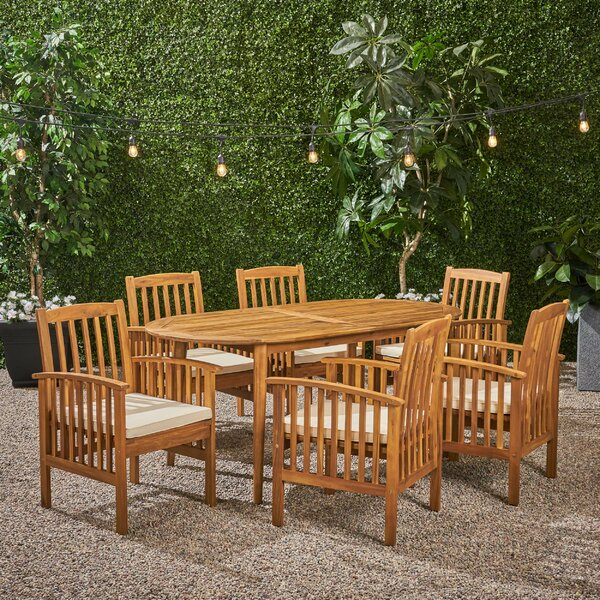 Figgs Patio 7 Piece Dining Set with Cushions by Breakwater Bay