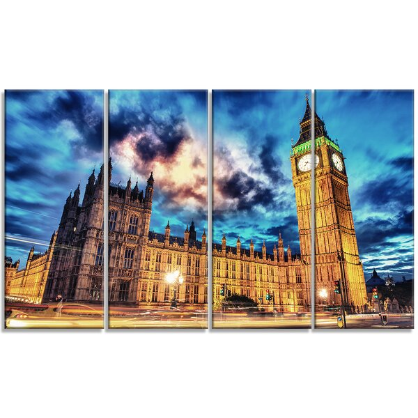 Big Ben and House of Parliament - Cityscape 4 Piece Photographic Print on Wrapped Canvas Set by Design Art