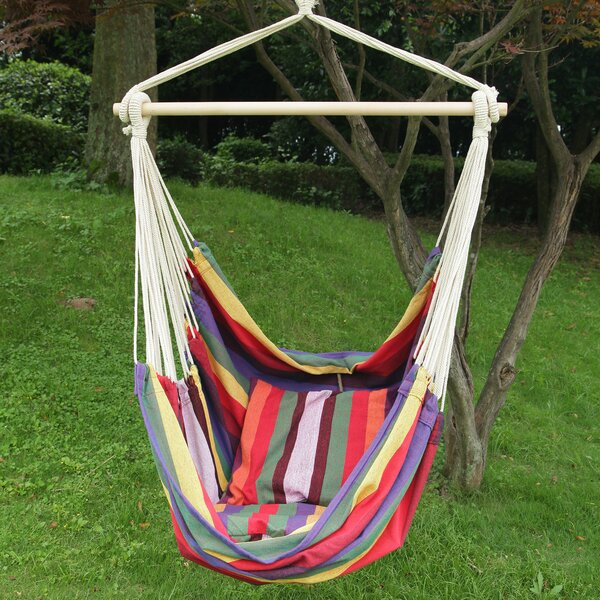 Merrillan Rainbow Striped Outdoor Chair Hammock by Red Barrel Studio
