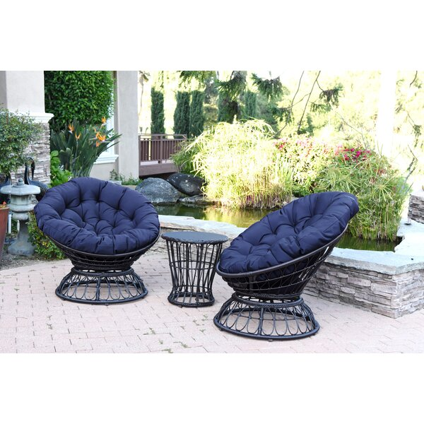 Barrigan 3 Piece 2 Person Seating Group with Cushions by World Menagerie