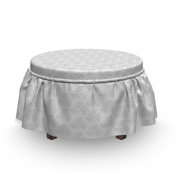 Striped Cube Hexagon Ottoman Slipcover (Set Of 2) By East Urban Home