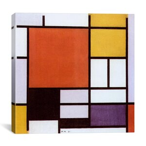 'Composition with Large Red Plane, Yellow, Black, Gray and Blue 1921' by Piet Mondrian Graphic Art on Canvas by iCanvas