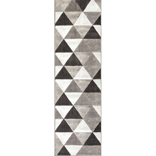 Ruark Mid-Century Modern Retro Shapes Gray Geometric Area Rug by Wrought Studio