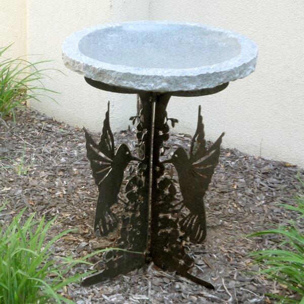 Hummingbird Silhouette Birdbath by Stone Age Creations