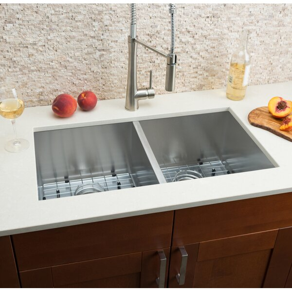 32 L x 16 W Double Bowl Kitchen Sink by Hahn