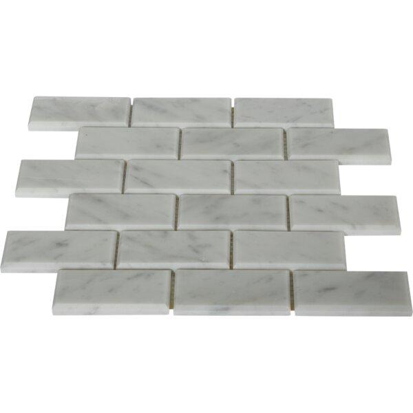 2 x 4 Beveled Marble Mosaic Tile in White Carrara by Splashback Tile