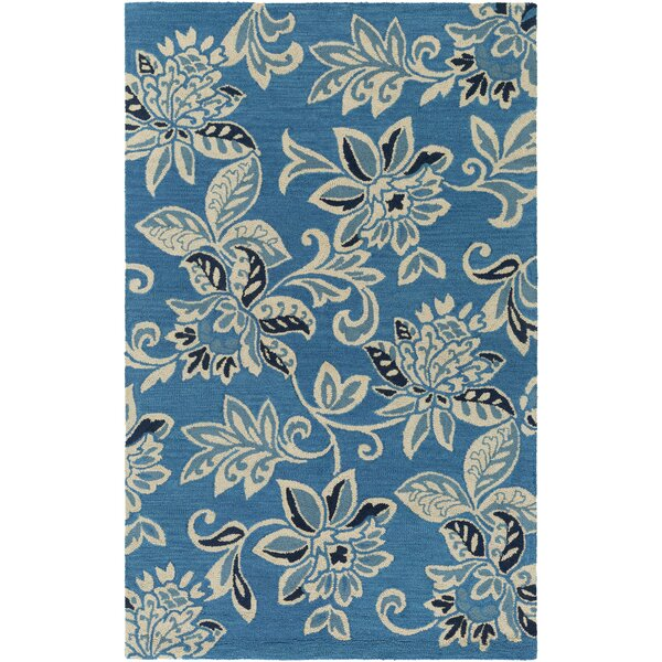 Eberhard Hand-Tufted Teal Blue/Off-White Area Rug by Charlton Home