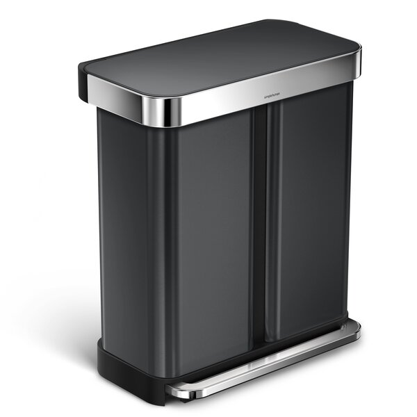 58 Liter Dual Compartment Rectangular Step Stainless Steel Trash Can with Liner Pocket Recycling Trash Can by simplehuman