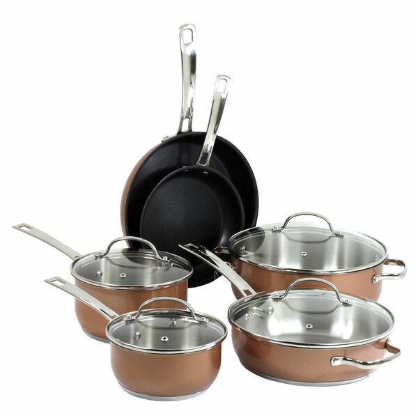 10-Piece Non-Stick Stainless Steel Cookware Set by Oneida
