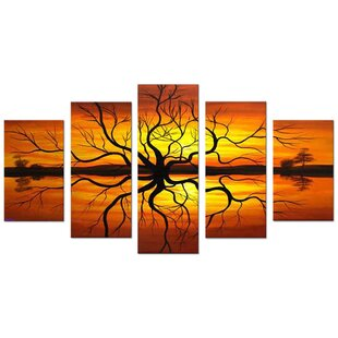 Abstract Reflection Tree Landscape 5 Piece Painting on Canvas Set