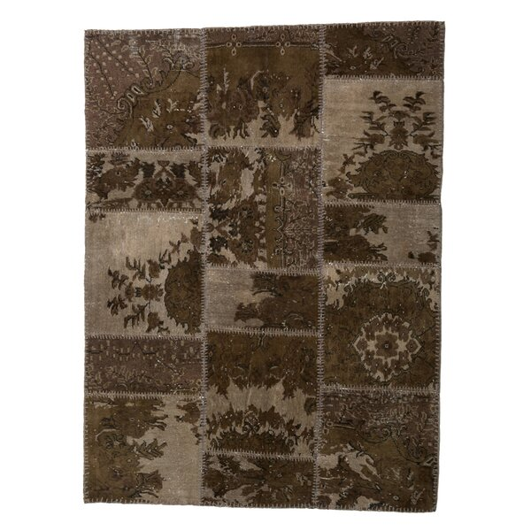 One-of-a-Kind Correia Patchwork Hand-Knotted Wool Green/Beige Area Rug by Isabelline