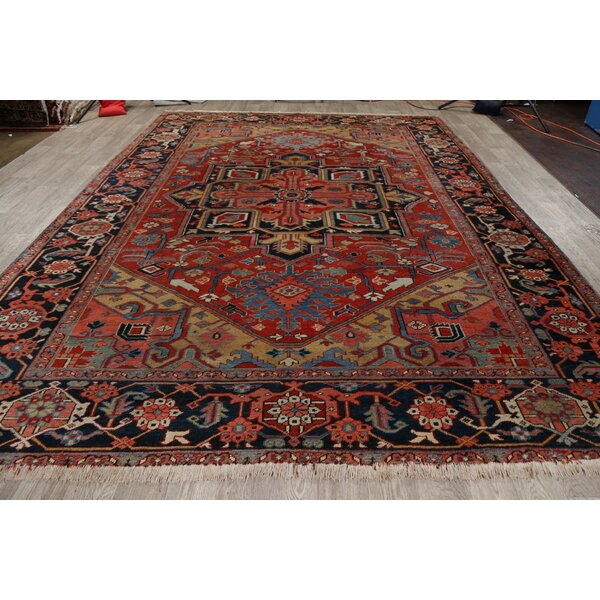 One-of-a-Kind Patternsin Hand-Knotted Serapi Red 9'2 x 12'2 Wool Area Rug