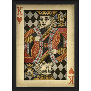 King of Hearts Harlequin Playing Card Framed Graphic Art by The Artwork Factory