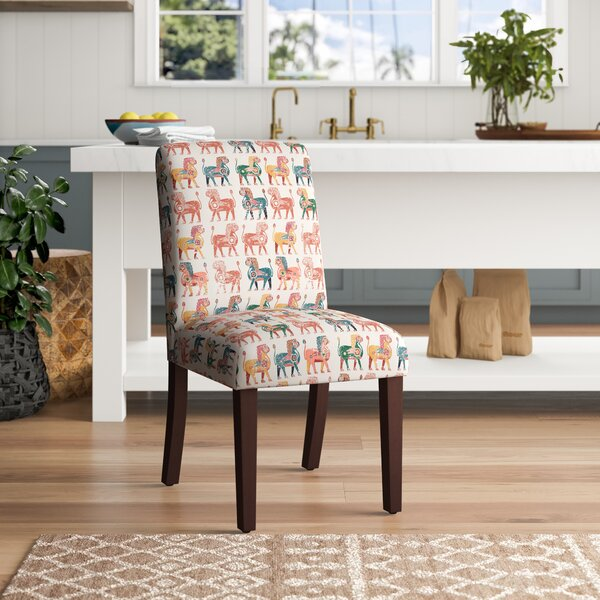 Carvey Lion Block Parsons Upholstered Dining Chair By World Menagerie