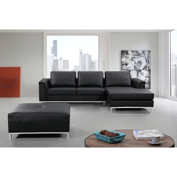 #2 Catlett Leather Reversible Sectional With Ottoman By Wade Logan Best Choices